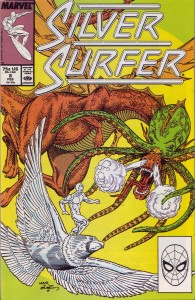 Silver Surfer Issue #8 Reprint ocver featuring The Surfer facing off against the Supreme Intelligence in the form of the Multitude.