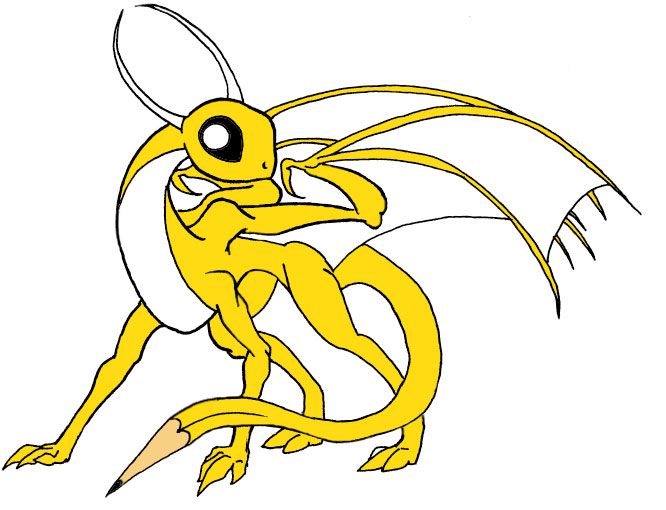 A yellow dragon with large, black reflective eyes, long, curling horns, and a pencil for a tail tip.